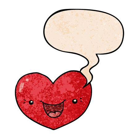 cartoon love heart character with speech bubble in retro texture style