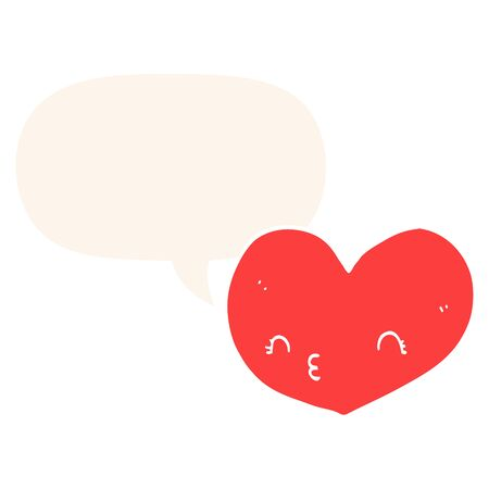 cartoon heart with face with speech bubble in retro style