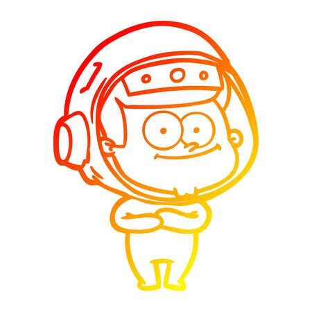 warm gradient line drawing of a happy astronaut cartoon