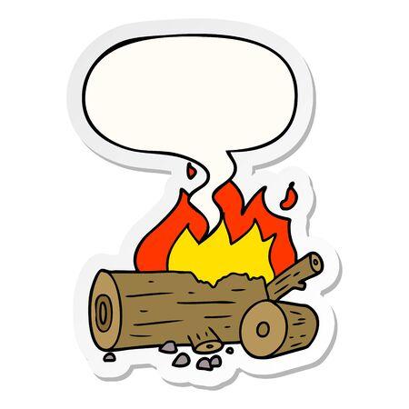 cartoon camp fire with speech bubble sticker