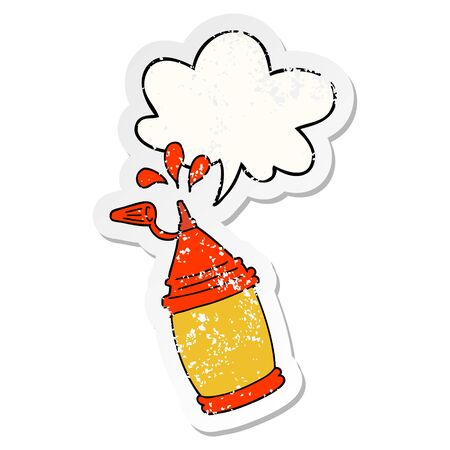 cartoon ketchup bottle with speech bubble distressed distressed old sticker