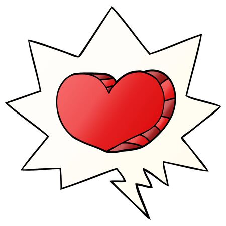 cartoon love heart with speech bubble in smooth gradient style