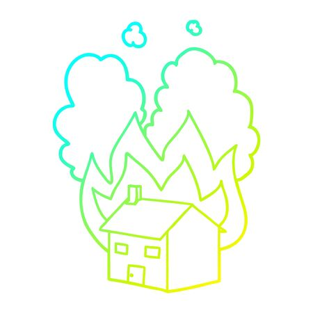 cold gradient line drawing of a cartoon burning house Illustration