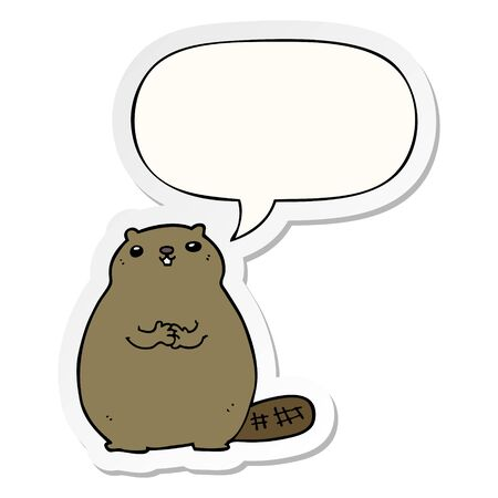 cartoon beaver with speech bubble sticker