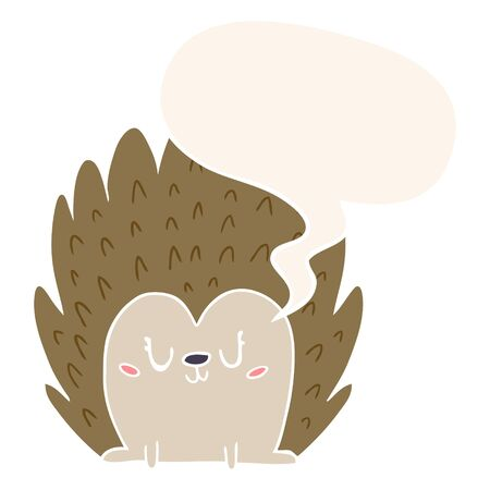 cute cartoon hedgehog with speech bubble in retro style