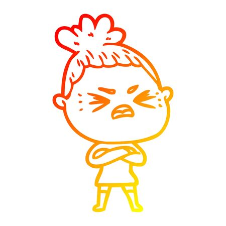 warm gradient line drawing of a cartoon angry woman
