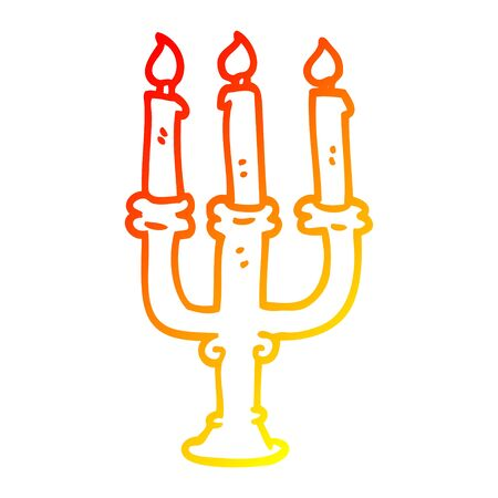 warm gradient line drawing of a cartoon candlestick holder 向量圖像