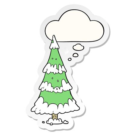 cartoon christmas tree with thought bubble as a printed sticker