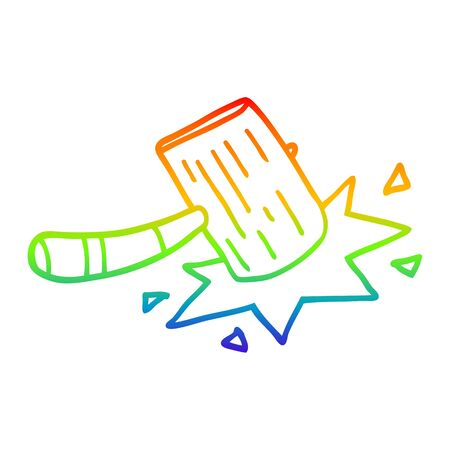 rainbow gradient line drawing of a cartoon wooden mallet