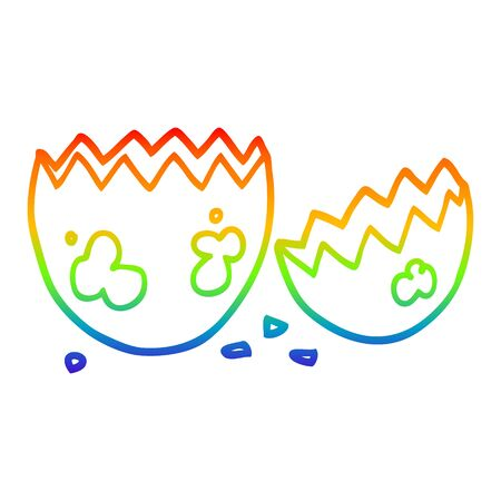 rainbow gradient line drawing of a cartoon cracked egg