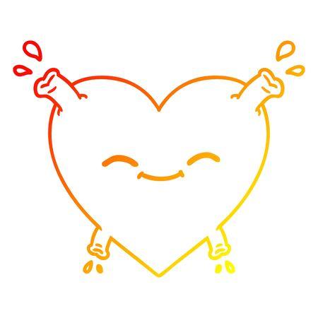 warm gradient line drawing of a cartoon happy heart