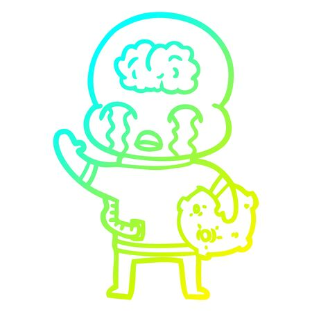 cold gradient line drawing of a cartoon big brain alien crying and waving goodbye Illustration
