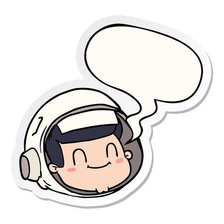 cartoon astronaut face with speech bubble sticker