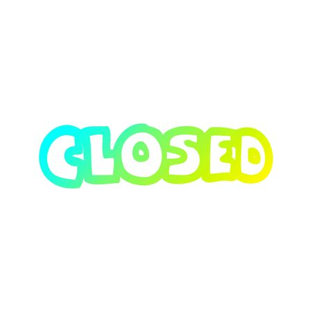 cold gradient line drawing of a cartoon closed sign Stok Fotoğraf - 129505791