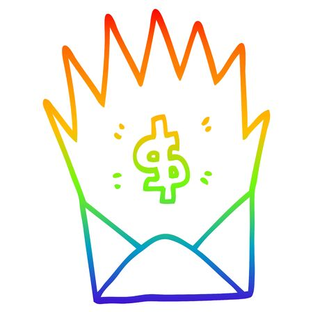 rainbow gradient line drawing of a cartoon unexpected pay check Illustration