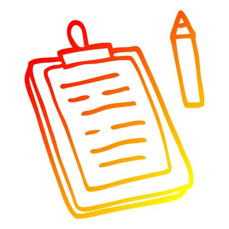 warm gradient line drawing of a cartoon clip board 向量圖像