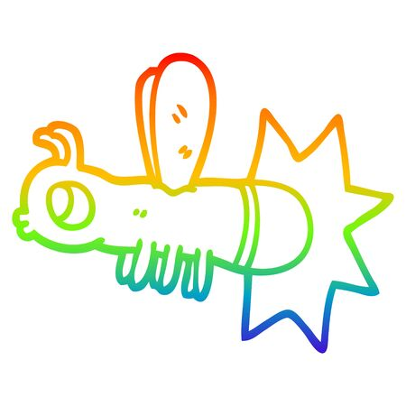 rainbow gradient line drawing of a cartoon lightning bug Banque d'images - 129505884