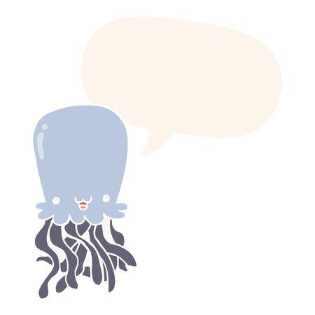 cartoon octopus with speech bubble in retro style 向量圖像