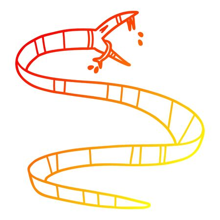 warm gradient line drawing of a cartoon poisonous snake