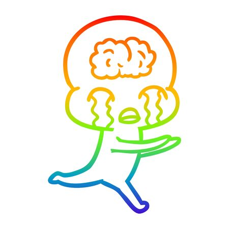rainbow gradient line drawing of a cartoon big brain alien crying