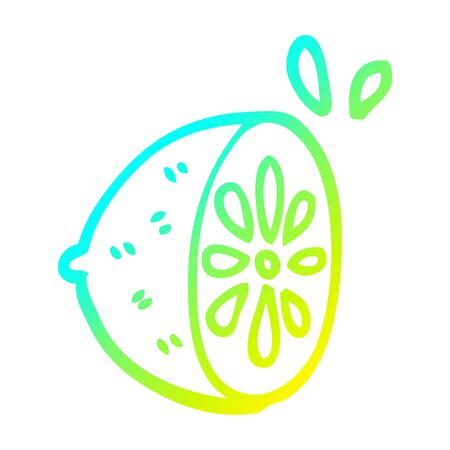 cold gradient line drawing of a cartoon lemon fruit