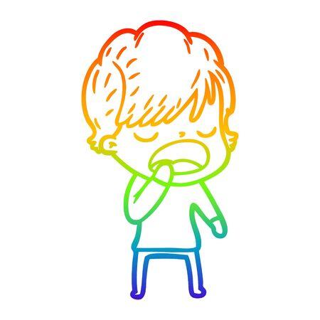 rainbow gradient line drawing of a cartoon woman talking