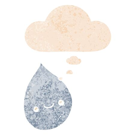 cartoon raindrop with thought bubble in grunge distressed retro textured style Illustration