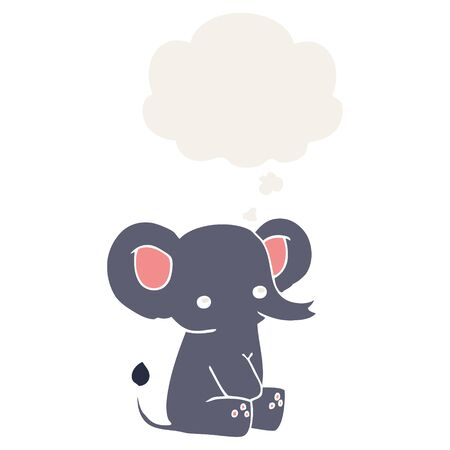 cartoon elephant with thought bubble in retro style Stock Illustratie