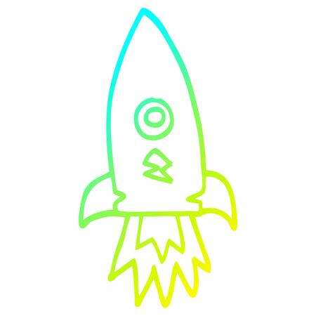 cold gradient line drawing of a cartoon space rocket Illustration