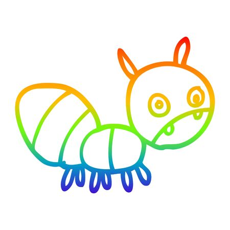 rainbow gradient line drawing of a cartoon anxious ant