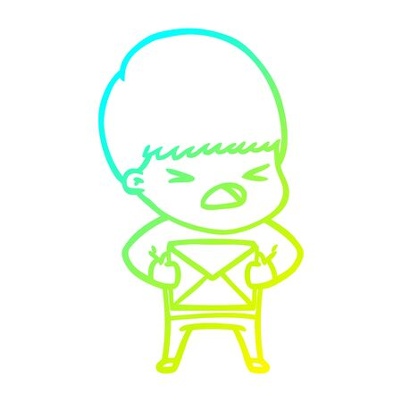 cold gradient line drawing of a cartoon stressed man  イラスト・ベクター素材