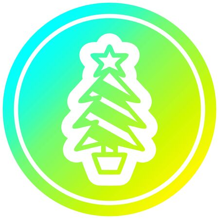 christmas tree circular icon with cool gradient finish