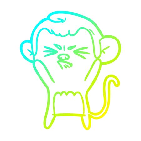 cold gradient line drawing of a cartoon angry monkey  イラスト・ベクター素材