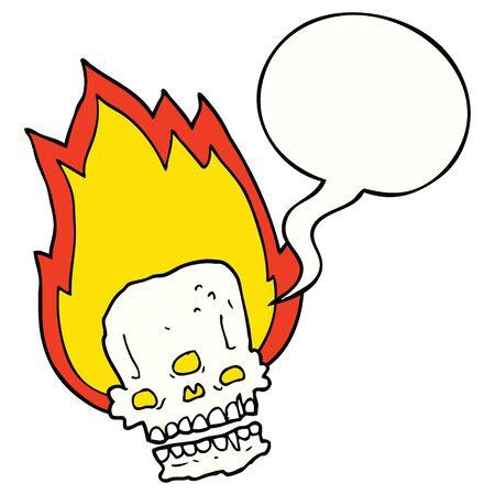 spooky cartoon flaming skull with speech bubble
