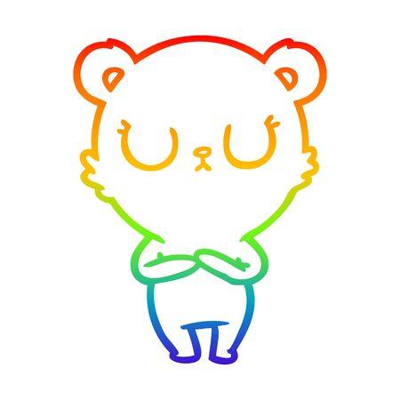 rainbow gradient line drawing of a peaceful cartoon polar bear 向量圖像