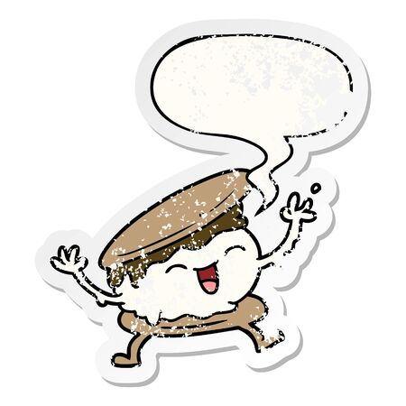 smore cartoon with speech bubble distressed distressed old sticker