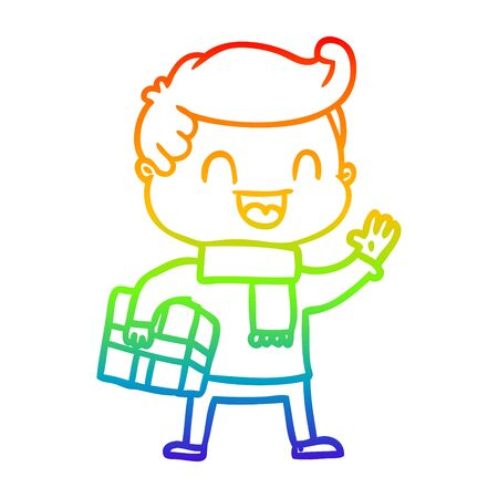 rainbow gradient line drawing of a cartoon laughing man holding gift Çizim