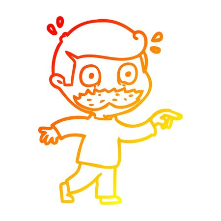 warm gradient line drawing of a cartoon man with mustache shocked