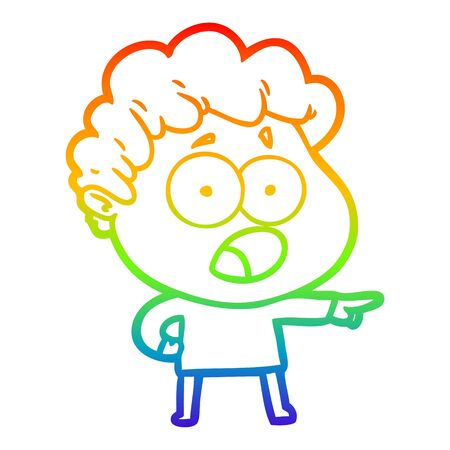 rainbow gradient line drawing of a cartoon man gasping in surprise 向量圖像