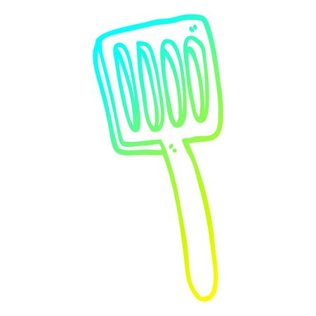 cold gradient line drawing of a cartoon food spatula