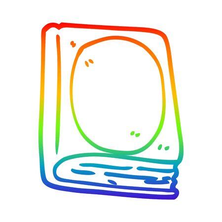 rainbow gradient line drawing of a cartoon reading book Çizim