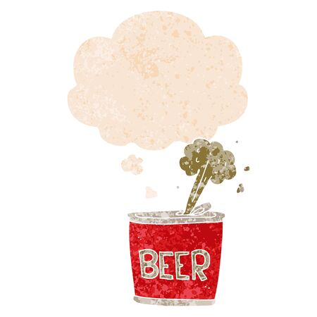 cartoon beer can with thought bubble in grunge distressed retro textured style