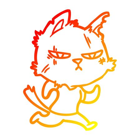 warm gradient line drawing of a tough cartoon cat running 矢量图像