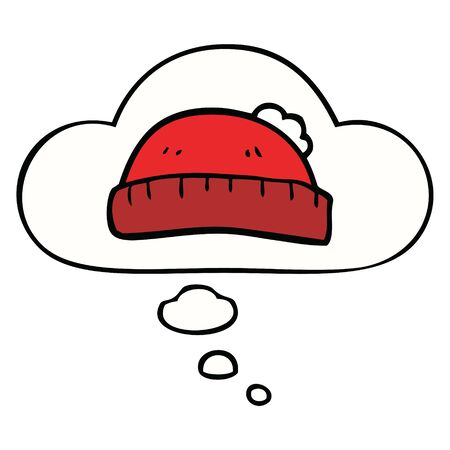cartoon woolly hat with thought bubble