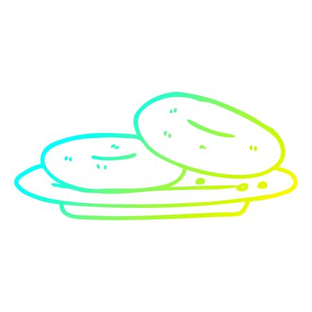 cold gradient line drawing of a cartoon donuts