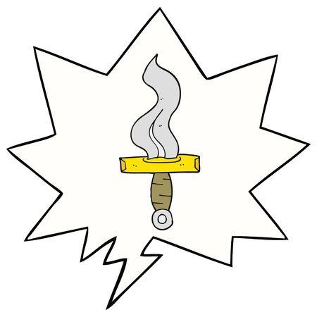 cartoon dagger with speech bubble