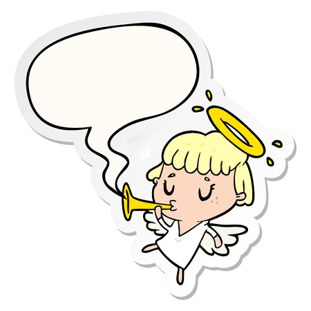 cute cartoon angel with speech bubble sticker