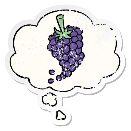 cartoon grapes with thought bubble as a distressed worn sticker