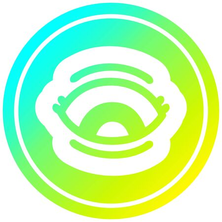staring eye circular icon with cool gradient finish