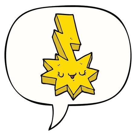 cartoon lightning strike with speech bubble